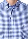 Lacivert Beyaz Kareli Düğmeli Yaka Gömlek