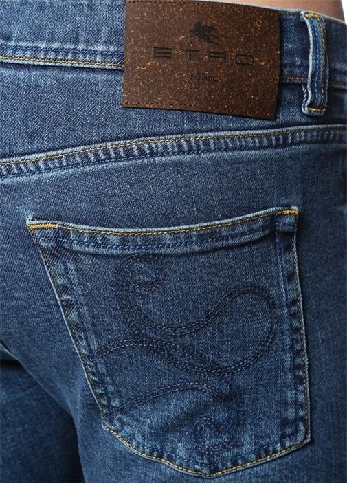 Slim Fit Mavi Normal Bel İşlemeli Jean Pantolon