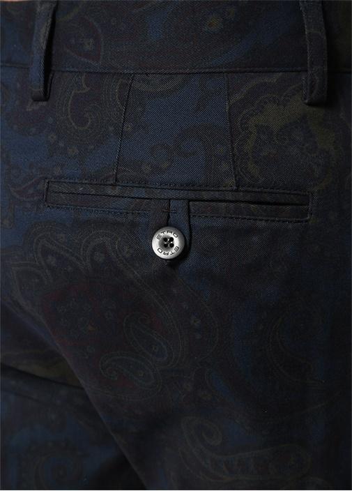 Slim Fit Lacivert Şal Desenli Pantolon