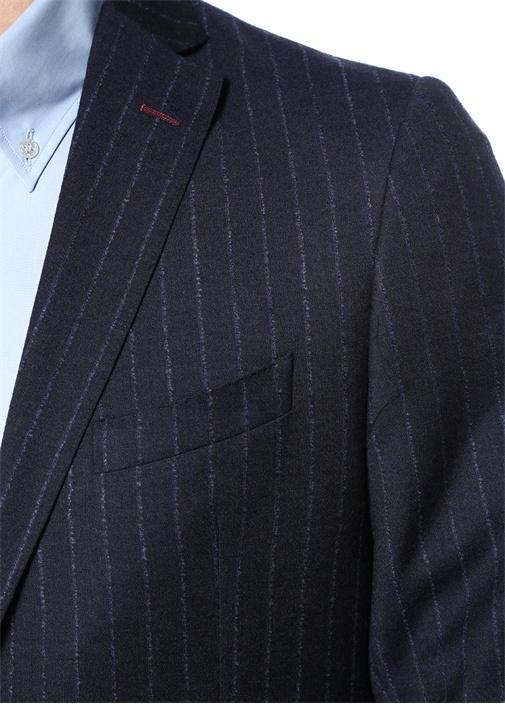 Lacivert Çizgili Yün Takım Elbise