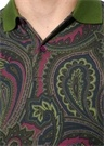 Slim Fit Yeşil Polo Yaka Etnik Desenli T-shirt