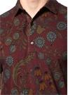 Bordo Polo Yaka Çiçek Desenli Dokulu T-shirt