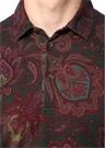 Bordo Polo Yaka Etnik Desenli T-shirt