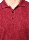 Bordo Polo Yaka Şal Desenli T-shirt