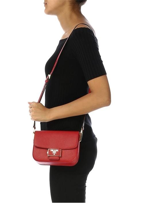 Kırmızı Logolu Kadın Deri Omuz Çantası