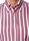 Slim Fit Mor Beyaz Düğmeli Yaka Çizgili Gömlek