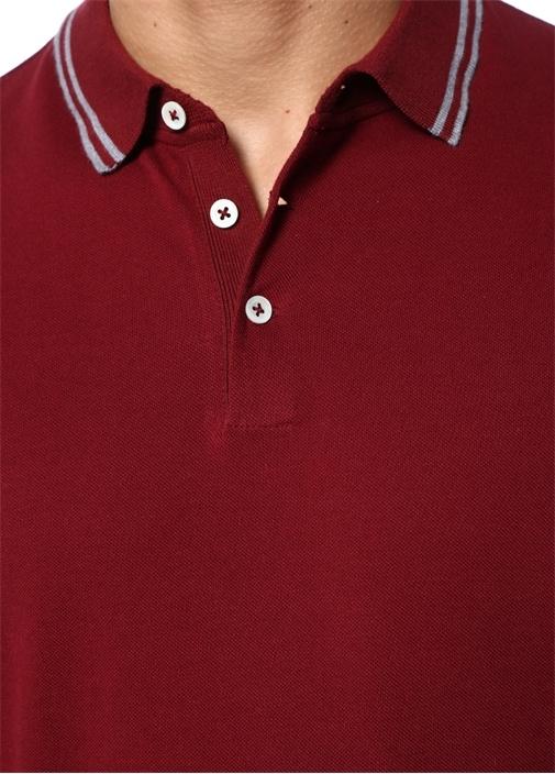 Regular Fit Bordo Gri Polo Yaka T-shirt