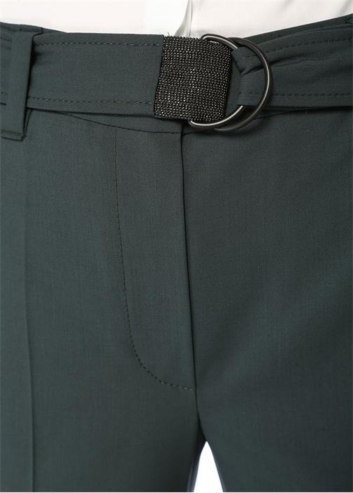 Yeşil Beli Kemer Detaylı Cigarette Yün Pantolon