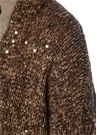 Kahverengi Püsküllü Payet İşlemeli Hırka