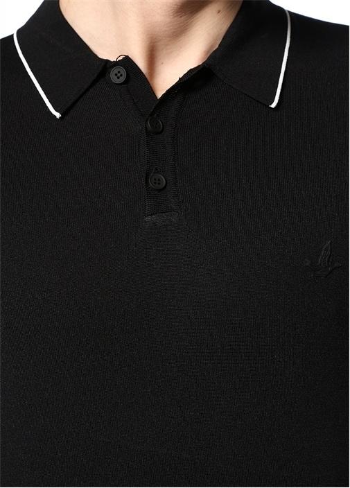 Siyah Polo Yaka Kontrast Şeritli Kazak
