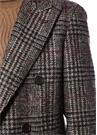 Kahverengi Kareli Kırlangıç Yaka Yün Palto