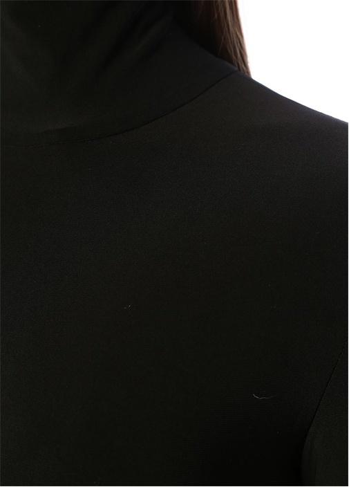 Siyah Dik Yaka Uzun Kol Maksi Elbise