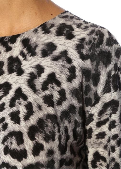 Oversize Leopar Desenli Uzun Kol Bluz