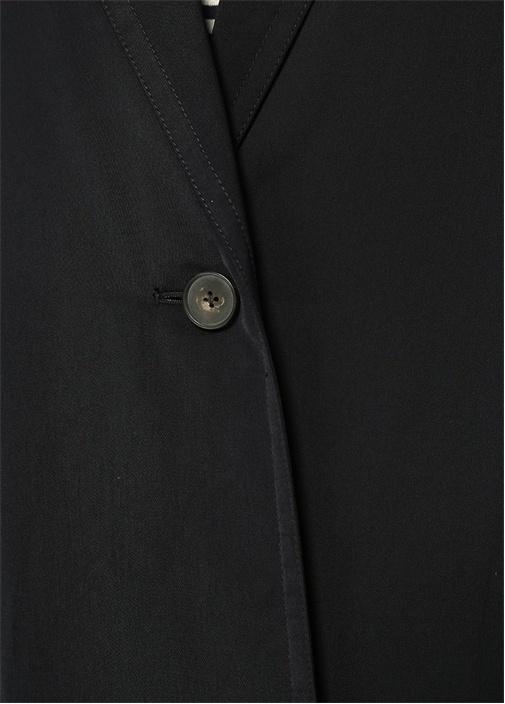 Lacivert Kelebek Yaka Tek Düğmeli Puff Palto