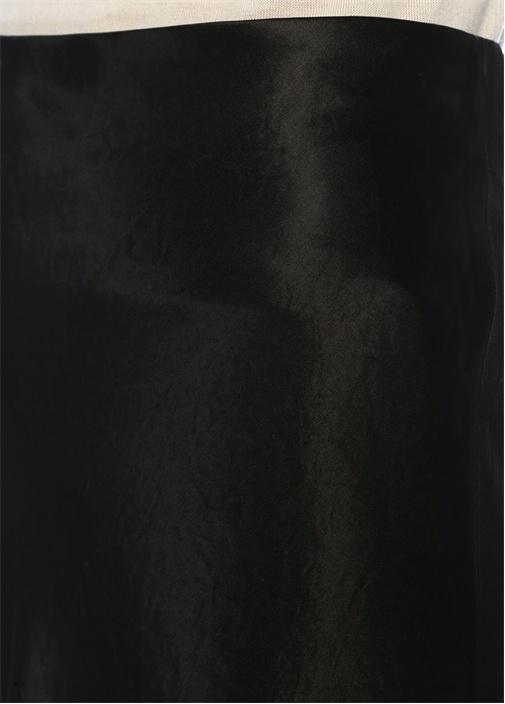 Siyah Midi Saten Etek