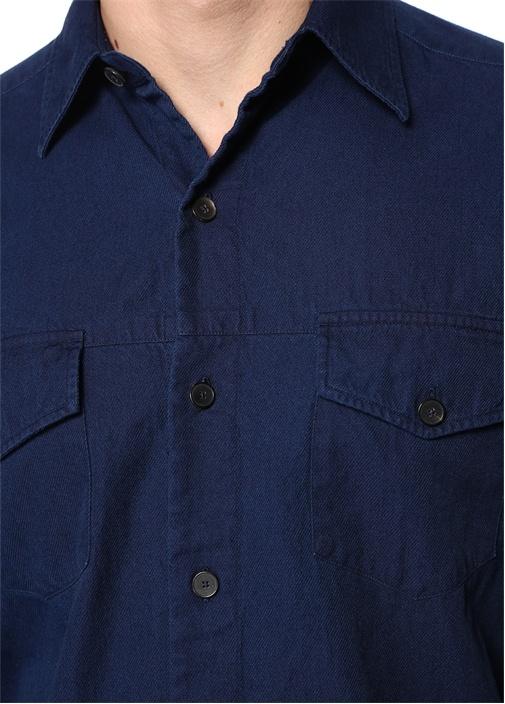 Lacivert İngiliz Yaka Denim Gömlek