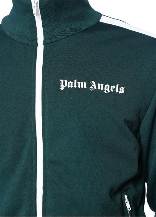 Classic Yeşil Dik Yaka Kolu Şeritli Sweatshirt