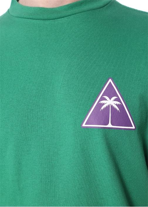 Palm Icon Yeşil Dik Yaka Basic T-shirt