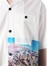 Yosemite Bowling Beyaz Kamp Yaka Baskılı Gömlek
