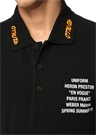 Siyah Polo Yaka Baskılı T-shirt