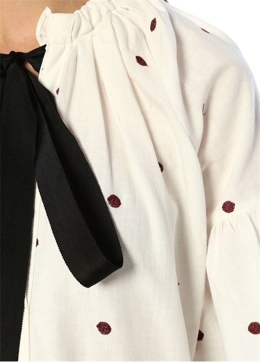 Beyaz Puantiyeli Fırfırlı Midi Elbise