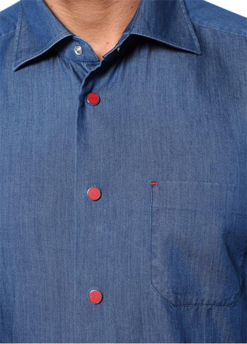 Mavi İngiliz Yaka Denim Görünümlü CepliGömlek