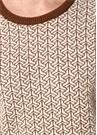 Kahverengi Beyaz Geometrik Jakarlı Kaşmir Kazak