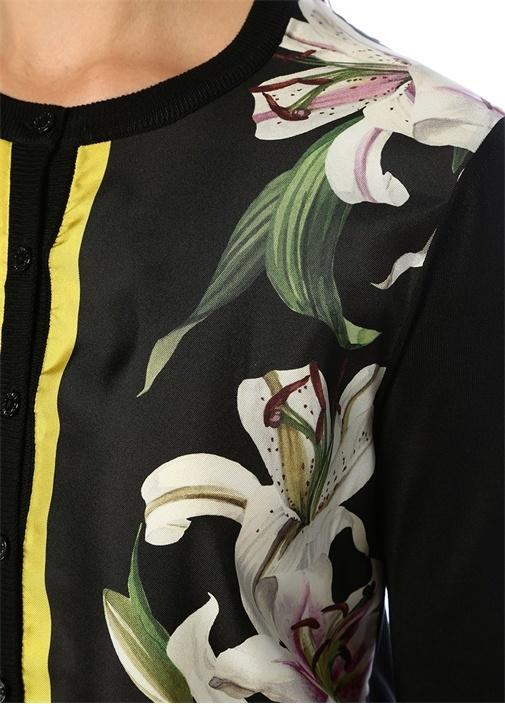 Lilium Siyah Düğmeli Garni Detaylı İpekHırka