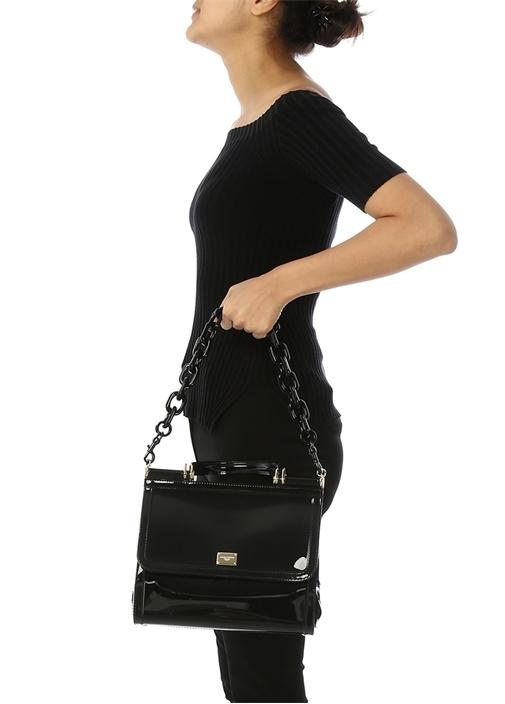 Sicily Siyah Logolu Kadın Omuz Çantası