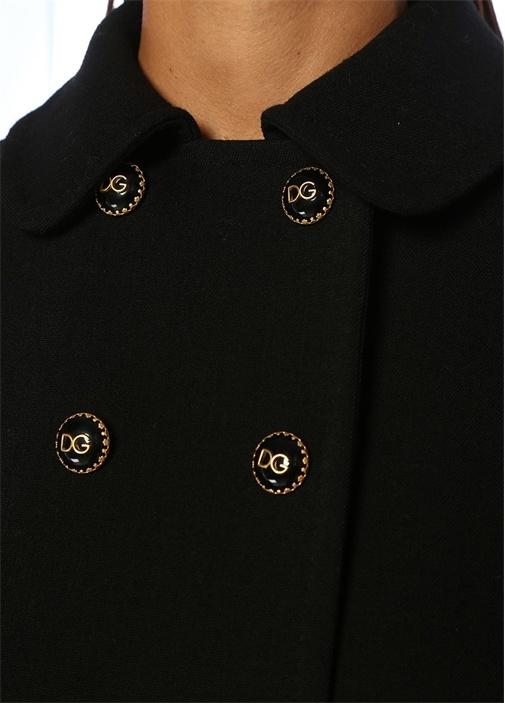 Siyah Dekoratif Düğmeli Kruvaze Yün Ceket