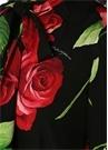 Slim Fit Siyah Bağcıklı Gül Desenli İpek Gömlek