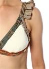 Gatsby Beyaz Fırfırlı Boncuklu Bikini Takımı