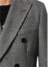 Siyah Beyaz Kazayağı Desenli Yün Palto