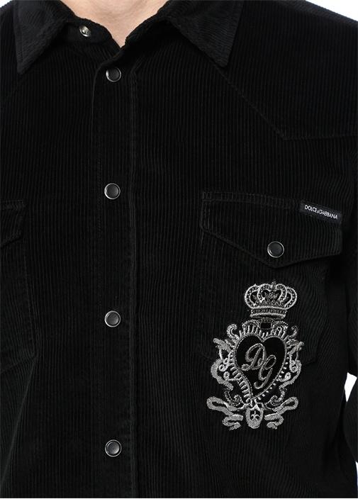 Siyah İngiliz Yaka Çizgi Dokulu Gömlek
