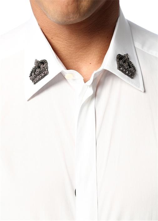 Gold Beyaz İngiliz Yaka Taç Patchli Gömlek