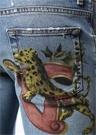 Skinny Fit Mavi Aslan Baskılı Jean Pantolon