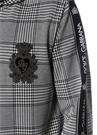 Siyah Beyaz Kapüşonlu Kazayağı Desenli Sweatshirt