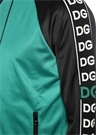 Siyah Yeşil Dik Yaka Şerit Logo Jakarlı Hırka
