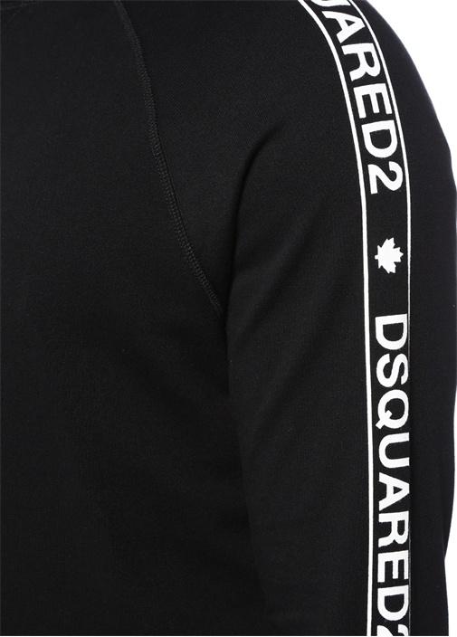 Siyah Kapüşonlu Logo Şeritli Sweatshirt