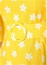 Sarı Kare Yaka Çiçekli Kemerli Midi Keten Elbise