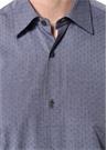 Mavi Modern Yaka Mikro Desenli Gömlek