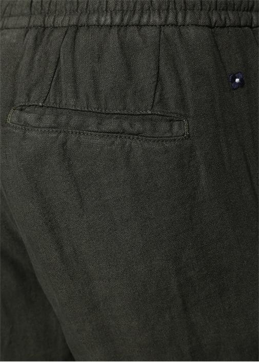 Haki Pileli Boru Paça Keten Pantolon