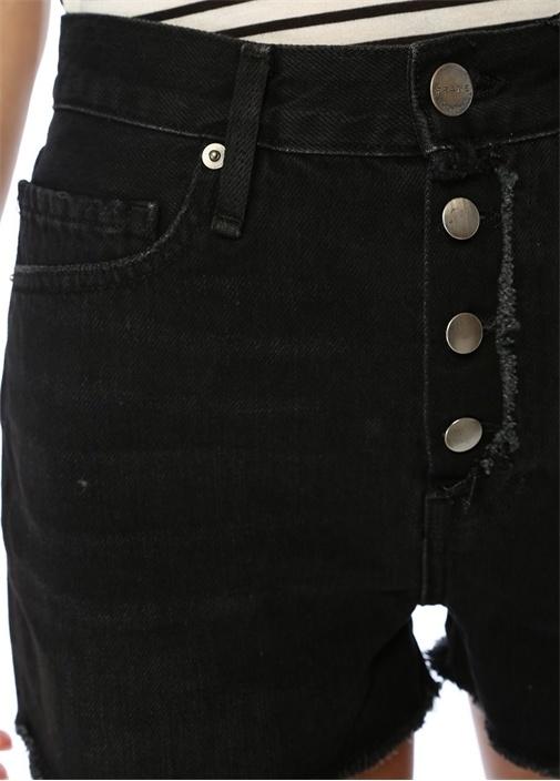 Vintage Siyah Yıpratma Detaylı Jean Şort