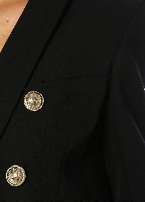Siyah Şal Yaka Oversize Kruvaze Yün Blazer Ceket