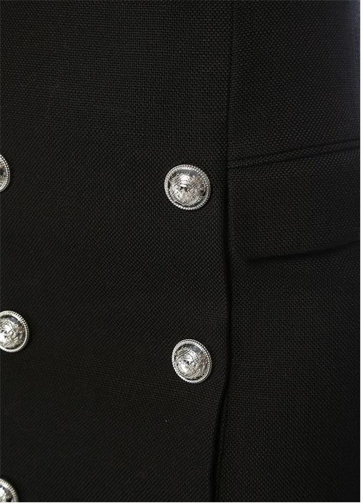Siyah Yüksek Bel Silver Düğmeli Mini Etek