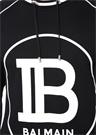 Siyah Logo Baskılı Yakası Bağcıklı Kazak
