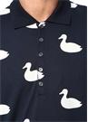 Lacivert Polo Yaka Ördek Baskılı Jersey T-shirt