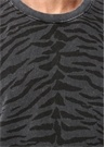 Siyah Gri Bisiklet Yaka Zebra Desenli Sweatshirt