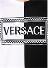 Siyah Beyaz Logo Nakışlı Basic T-shirt