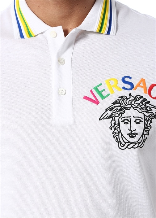 Medusa Beyaz Logo Nakışlı Polo Yaka T-shirt